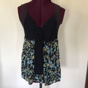 Free People Black Floral Tank Top L